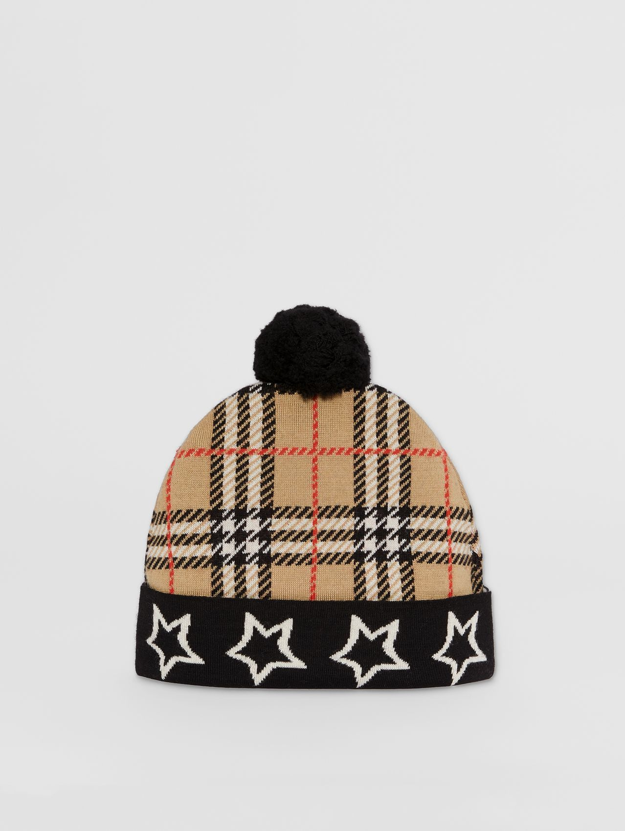 Star Detail Check Merino Wool Jacquard Beanie in Archive Beige