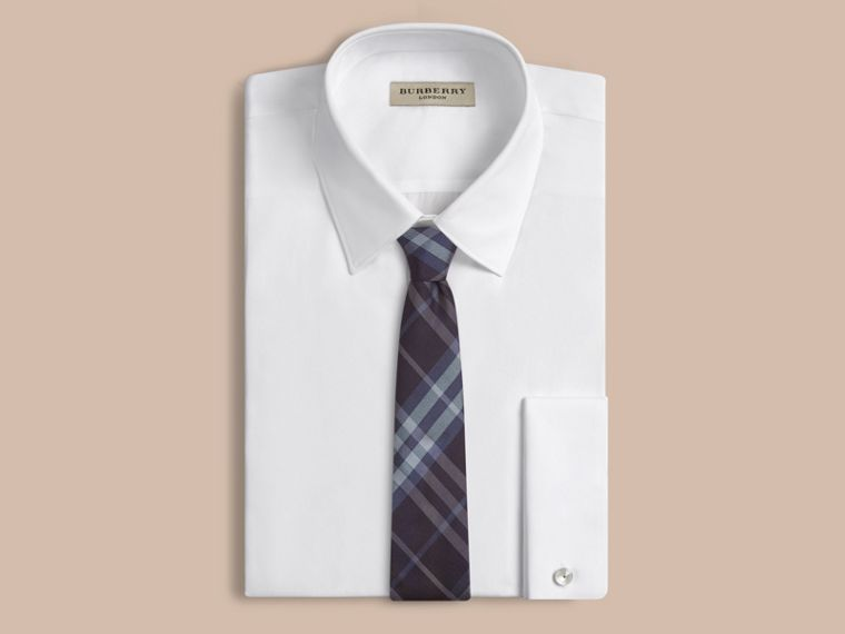 Navy Modern Cut Check Silk Tie - cell image 1