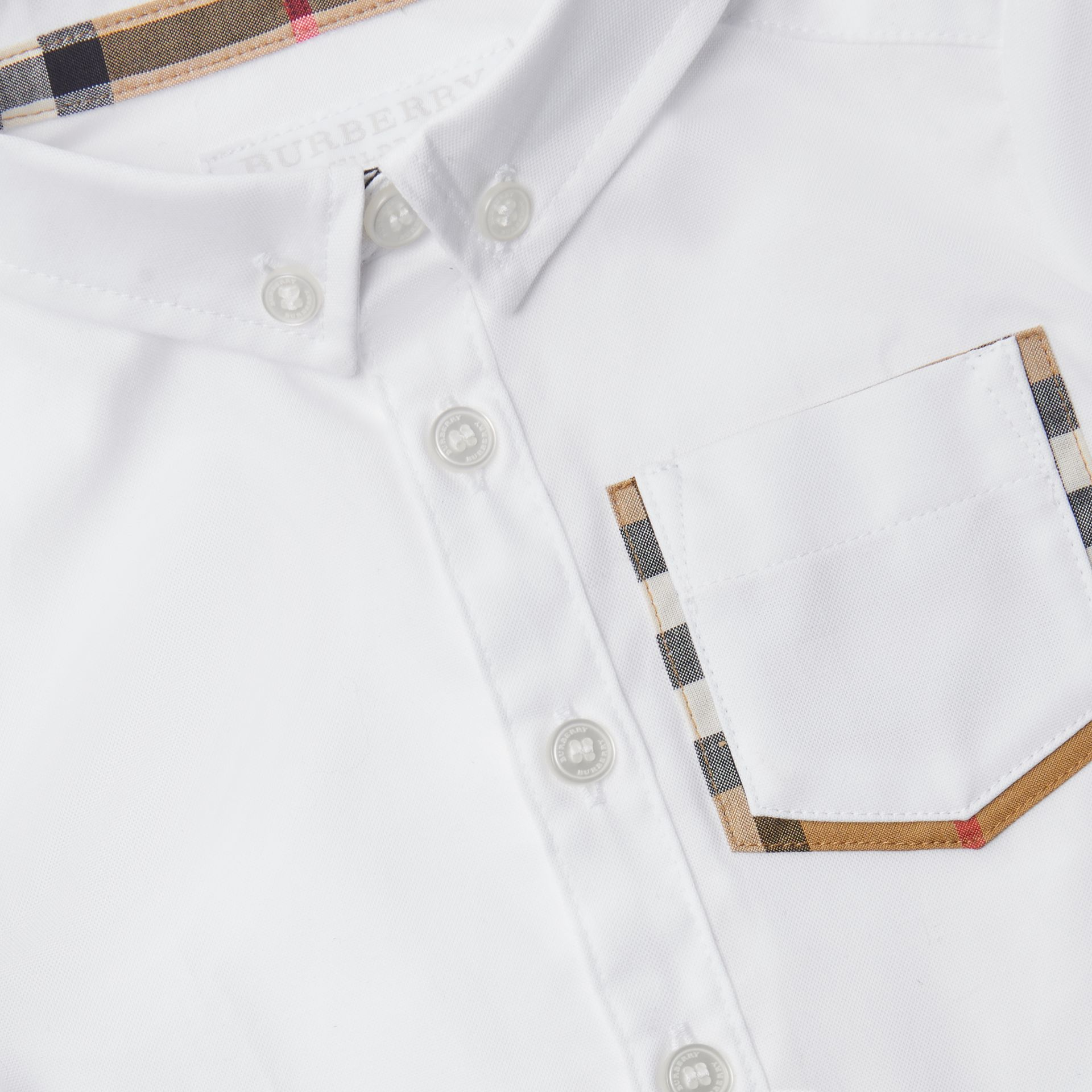 Short-sleeve Check Detail Cotton Oxford Shirt in White - Children | Burberry United Kingdom - gallery image 1