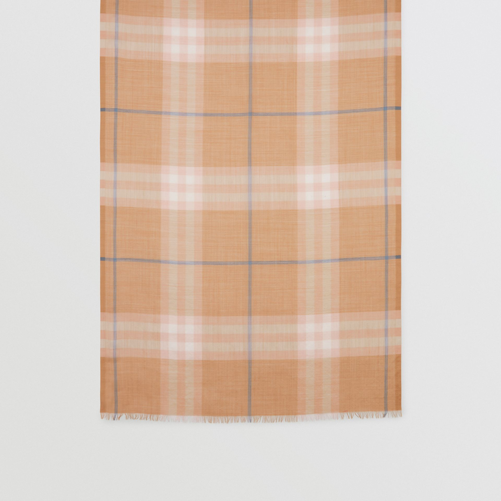 Lightweight Check Wool and Silk Scarf in Fawn | Burberry - gallery image 4