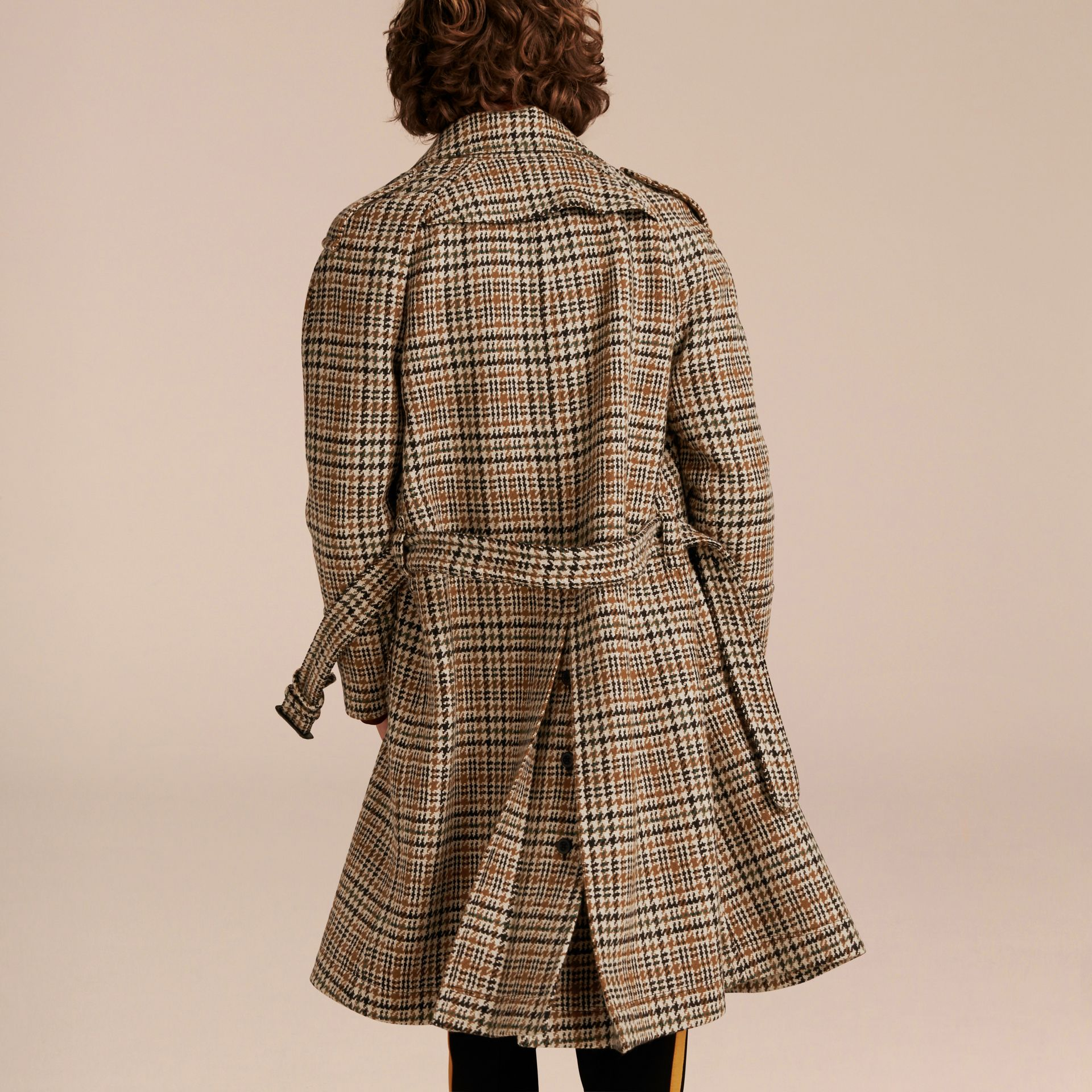 Ochre yellow Single-breasted Wool Tweed Trench Coat - gallery image 3