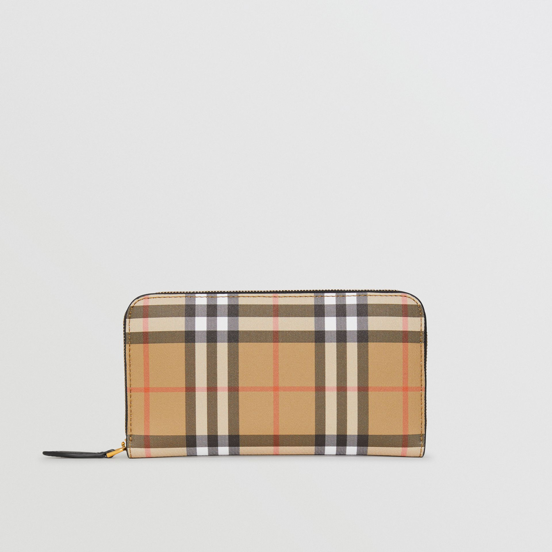 Vintage Check and Leather Ziparound Wallet in Black - Women | Burberry Canada - gallery image 2