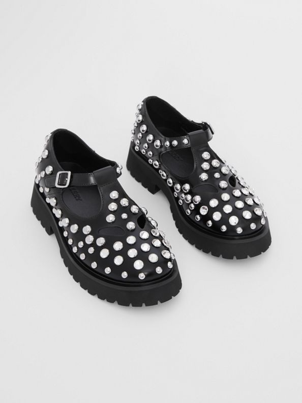 Studded Leather T-bar Shoes in Black