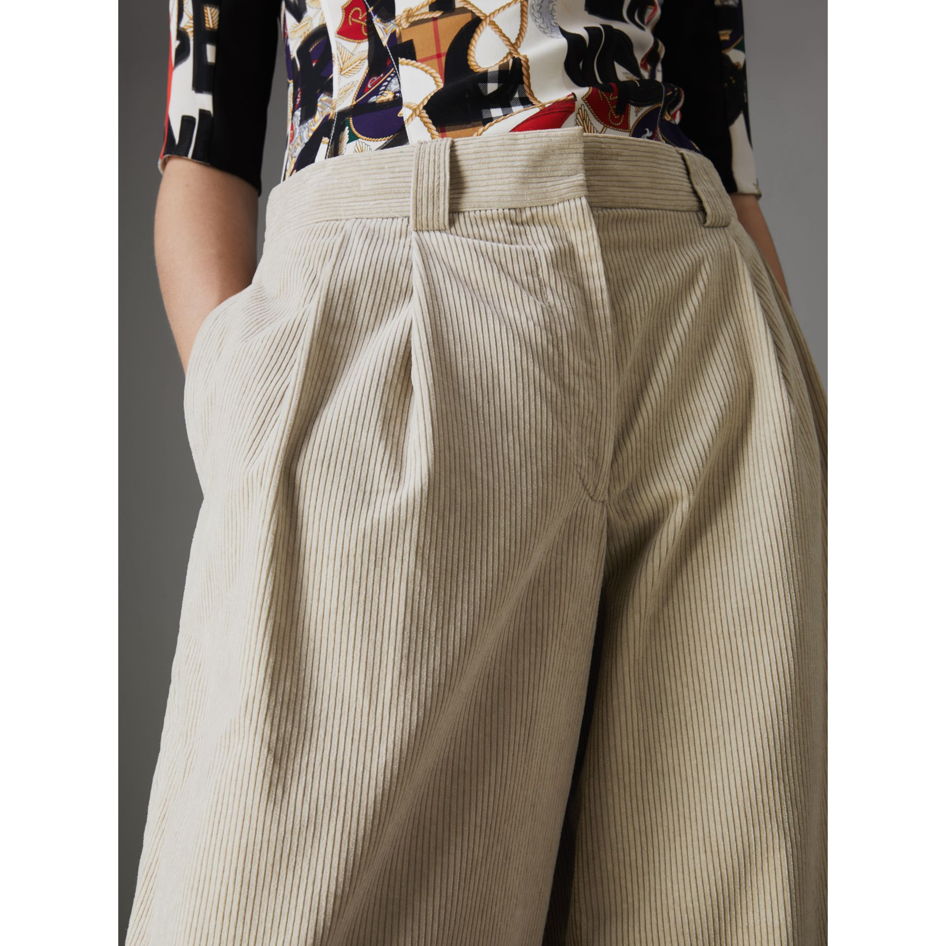 Roll-up Cuff Cotton Corduroy Trousers in Stone - Women | Burberry - gallery image 1
