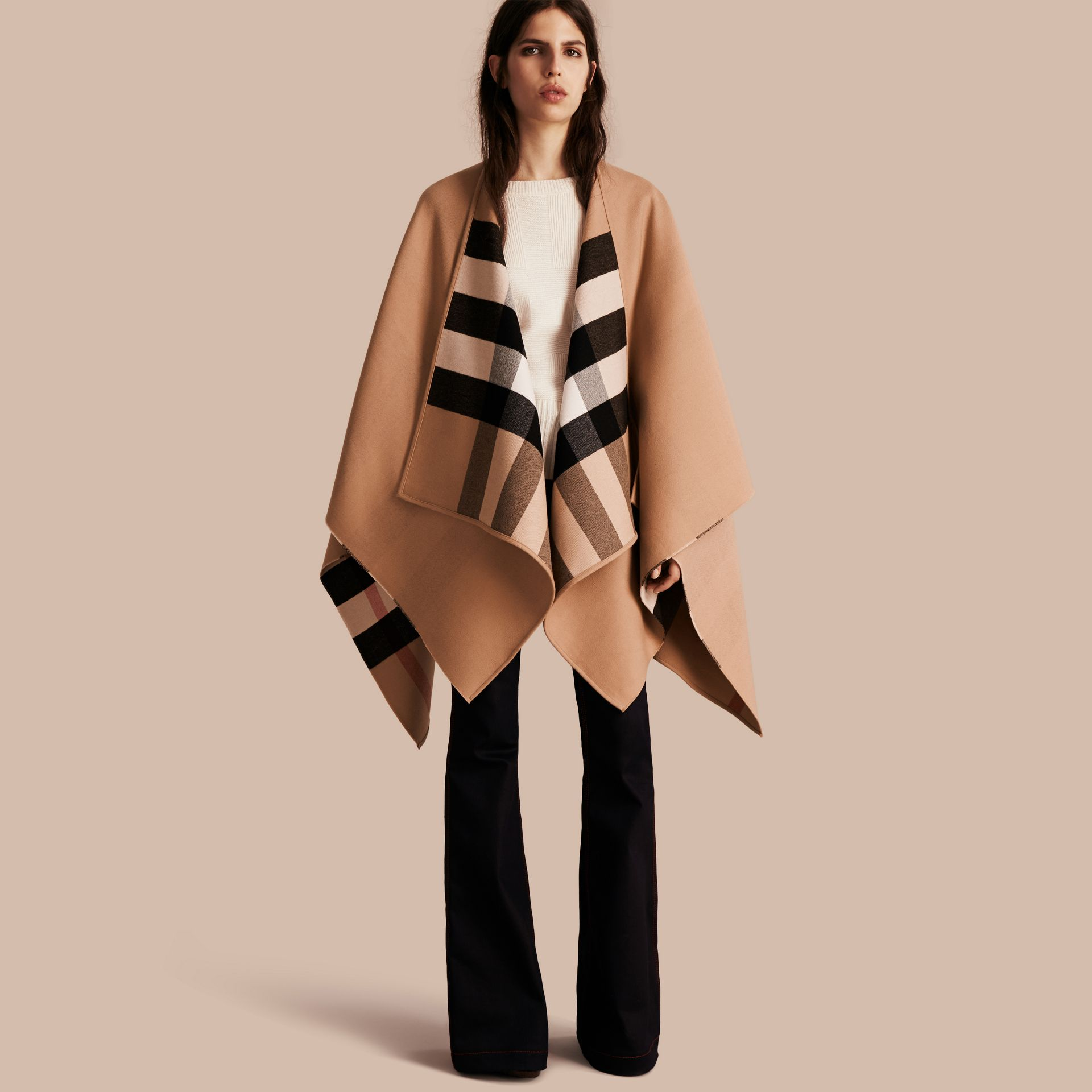 Reversible Check Merino Wool Poncho in Camel - Women | Burberry Canada - gallery image 1