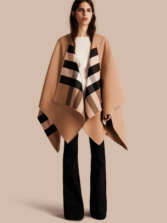 Reversible Check Merino Wool Poncho in Camel