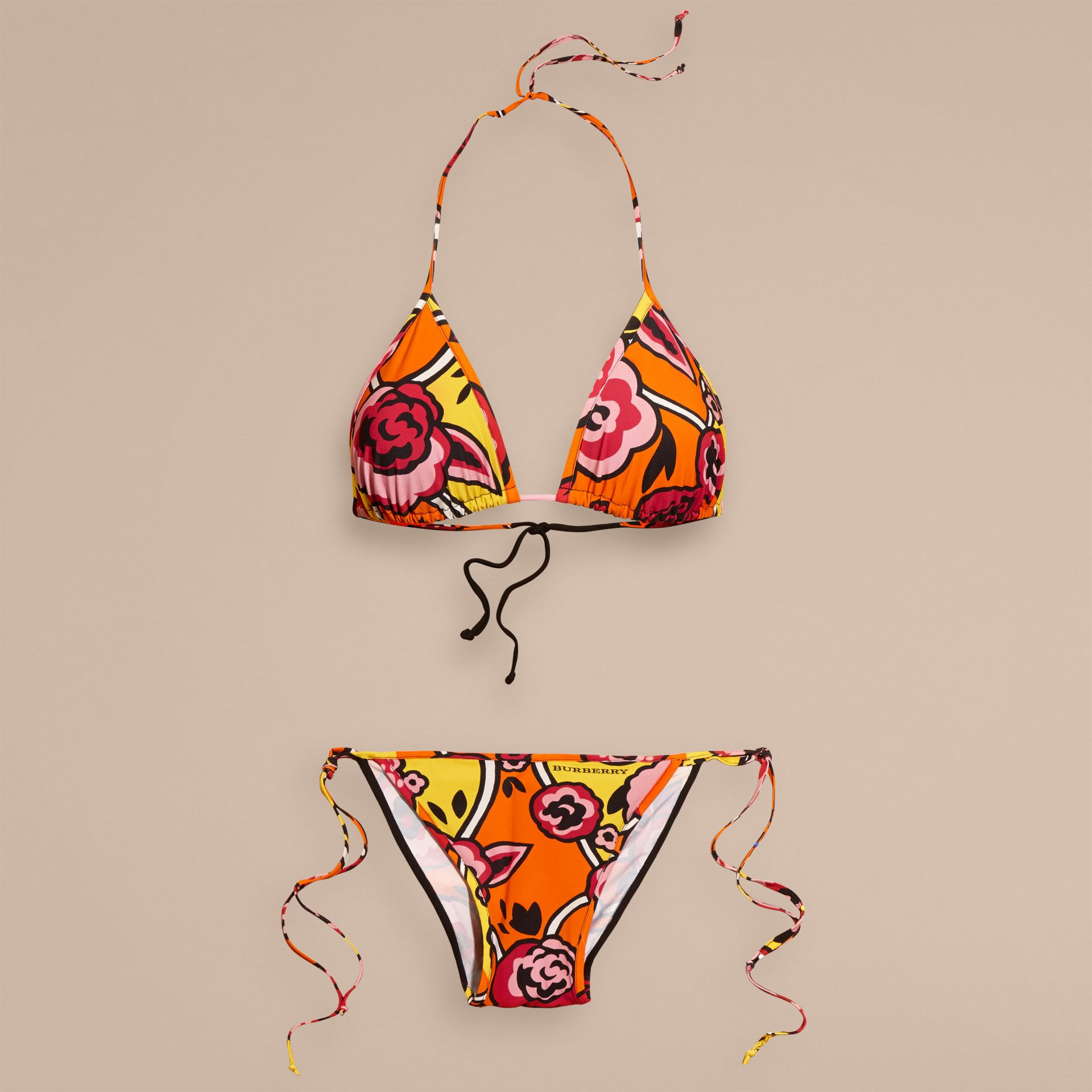 Vibrant orange Floral Print Triangle Bikini Vibrant Orange - gallery image 4
