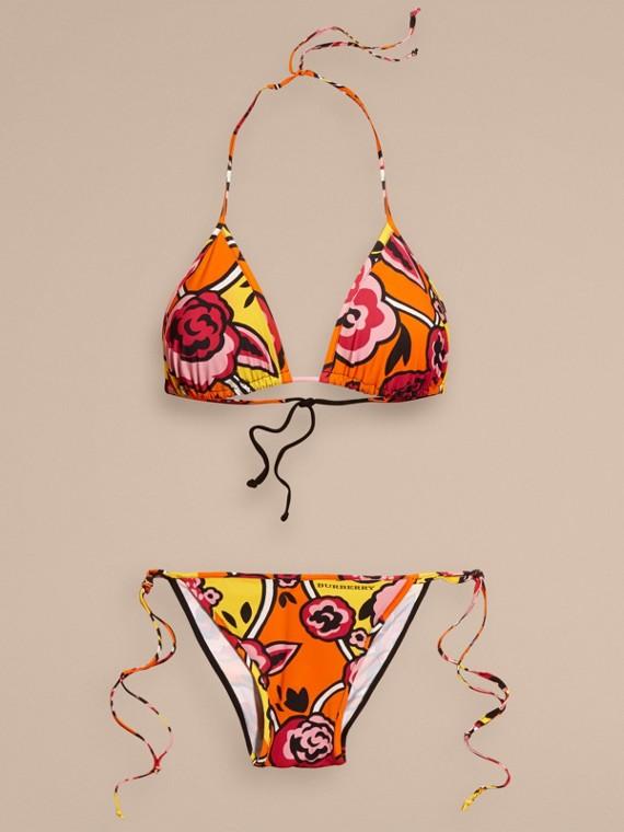 Vibrant orange Floral Print Triangle Bikini Vibrant Orange - cell image 3