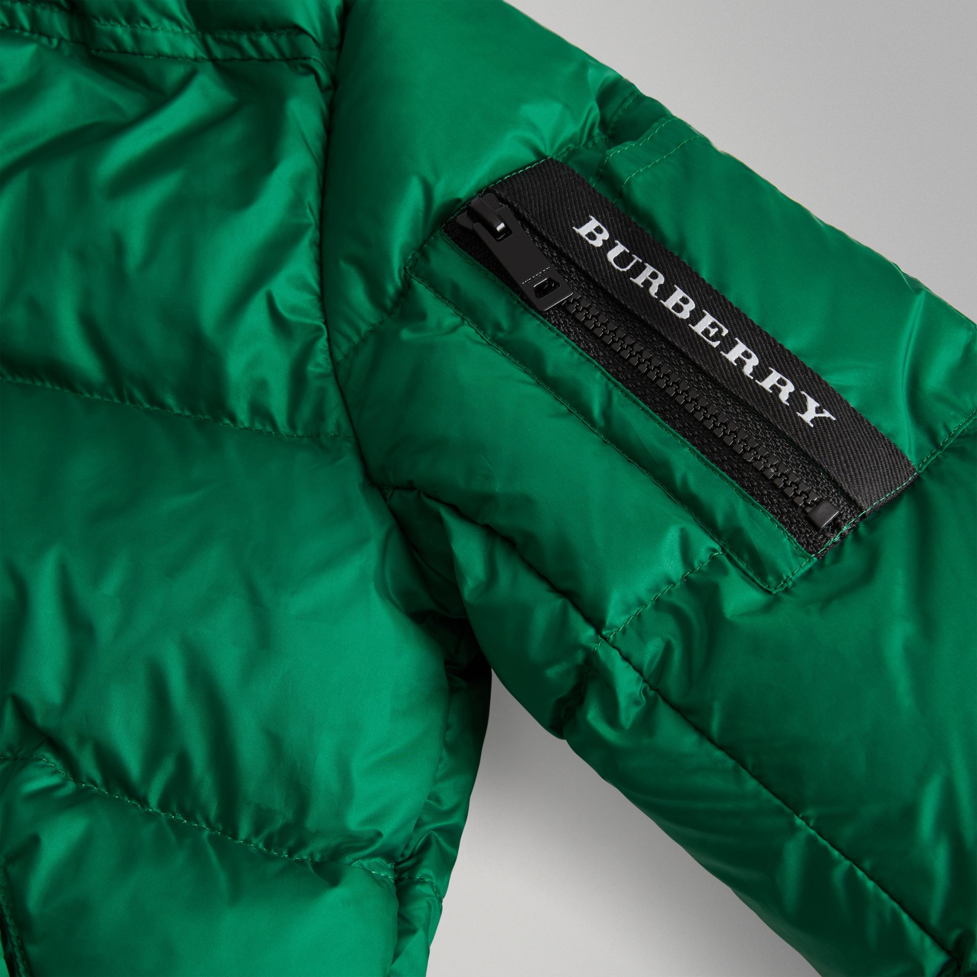 Detachable Hood Down-filled Puffer Coat in Dark Pigment Green | Burberry Singapore - gallery image 1