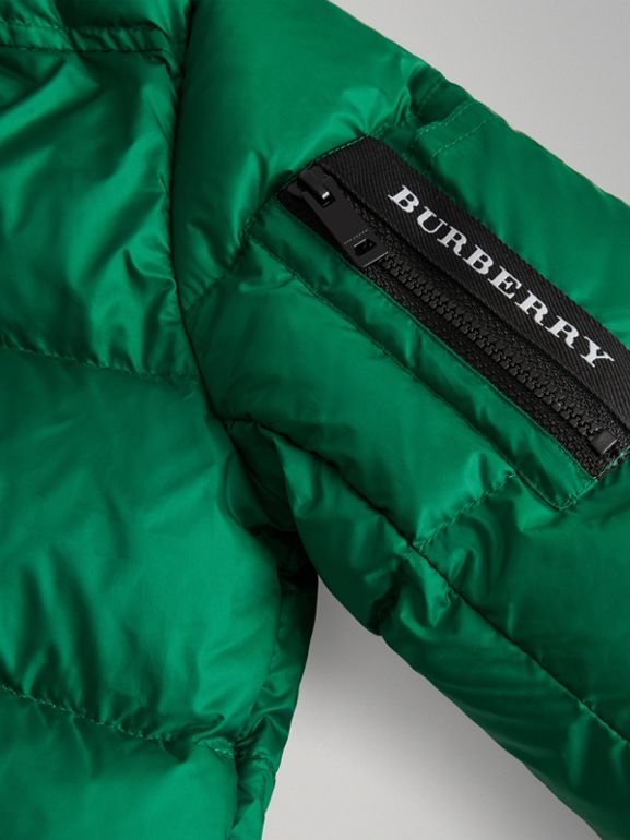 Detachable Hood Down-filled Puffer Coat in Dark Pigment Green | Burberry - cell image 1