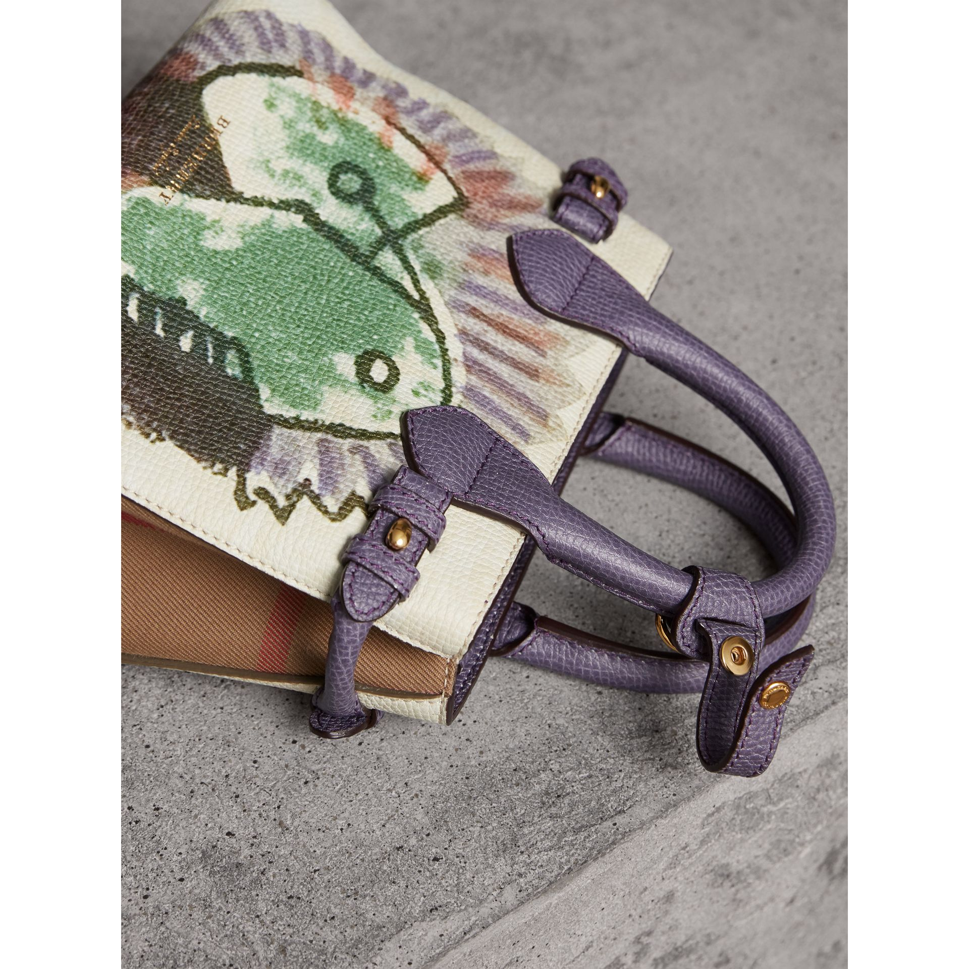 The Baby Banner in Leather with Pallas Heads Print in Dusty Violet - Women | Burberry - gallery image 7