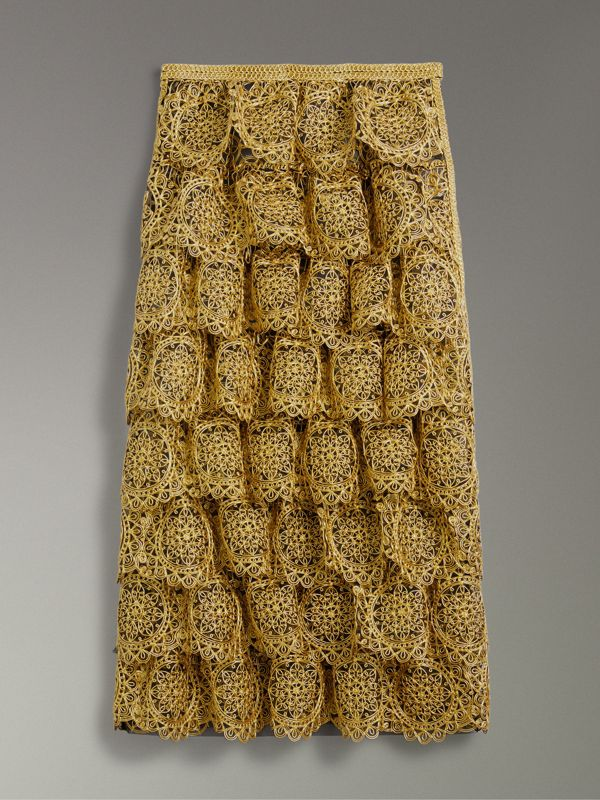Tiered Silicone Lace Skirt in Gold - Women | Burberry Singapore - cell image 3