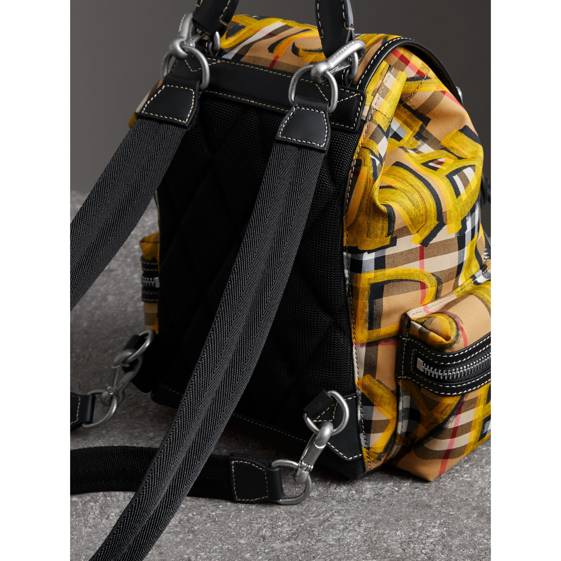 The Small Crossbody Rucksack in Graffiti Print Vintage Check in Black - Women | Burberry United Kingdom - gallery image 4