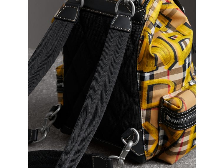 The Small Crossbody Rucksack in Graffiti Print Vintage Check in Black - Women | Burberry Canada - cell image 4