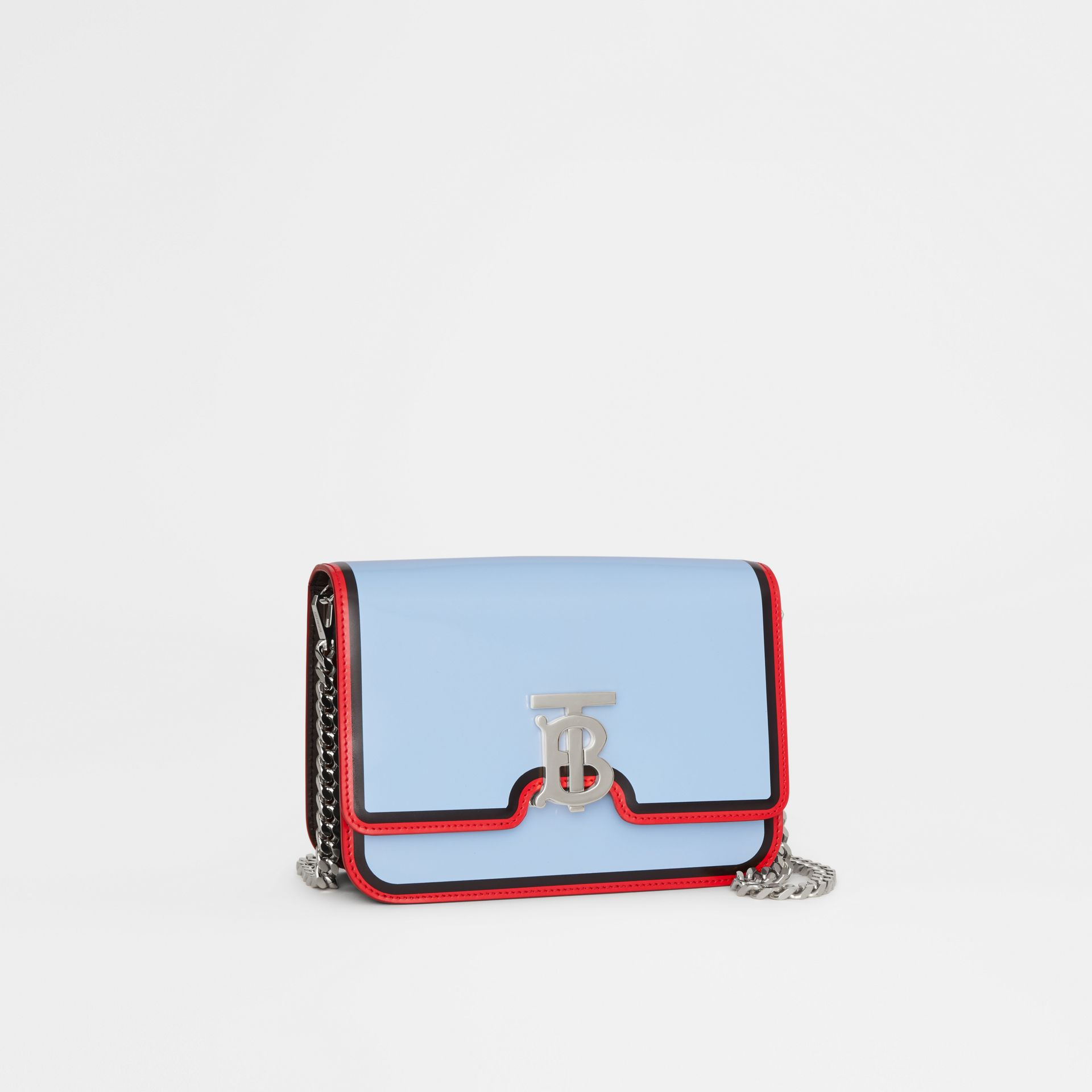 Small Painted Edge Leather TB Bag in Pale Blue - Women | Burberry - gallery image 6