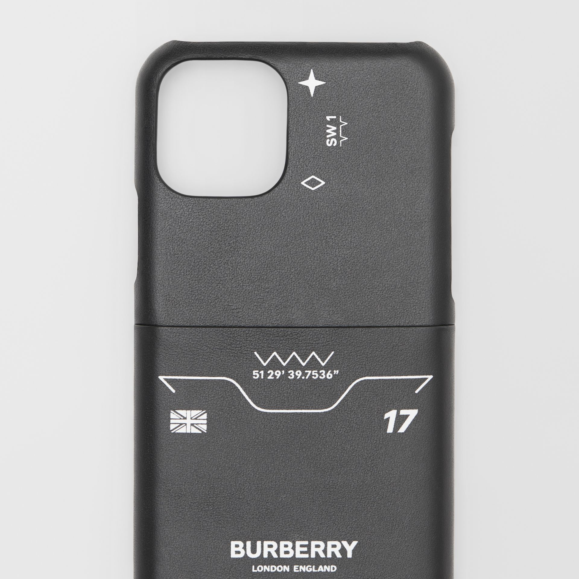 Symbol Print Leather iPhone 11 Pro Case in Black - Men | Burberry - gallery image 1