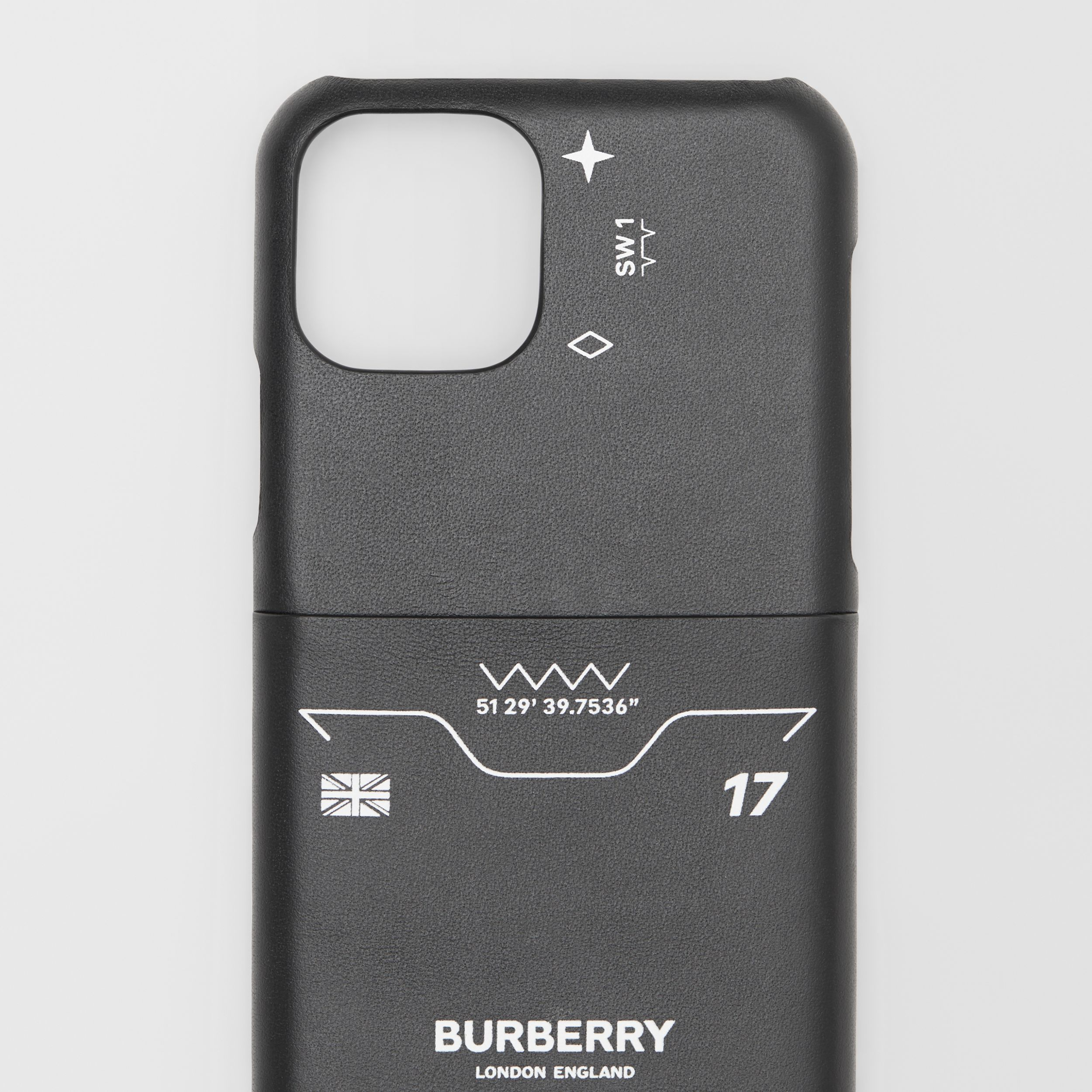 Symbol Print Leather iPhone 11 Pro Case in Black - Men | Burberry Hong Kong S.A.R. - 2