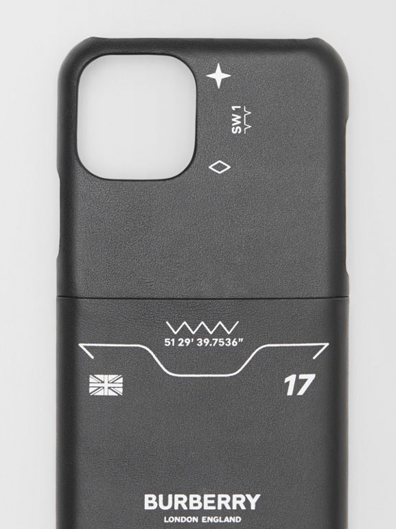 Symbol Print Leather iPhone 11 Pro Case in Black - Men | Burberry - cell image 1