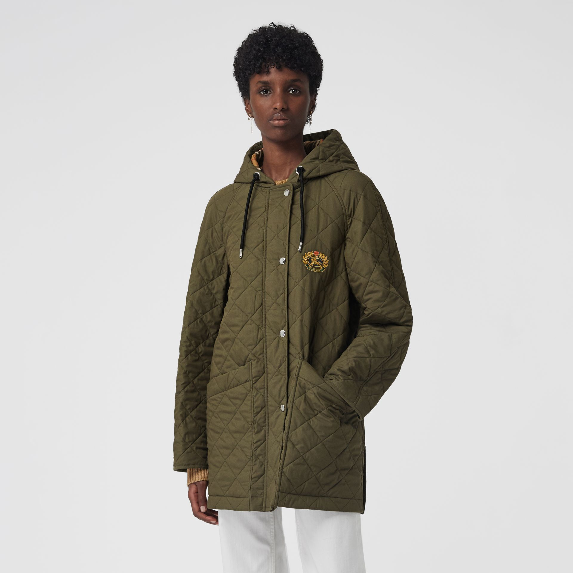 Diamond Quilted Oversized Hooded Parka in Olive - Women | Burberry - gallery image 5