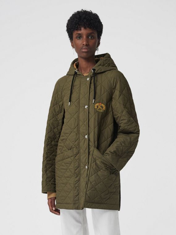 Lightweight Diamond Quilted Hooded Parka in Olive