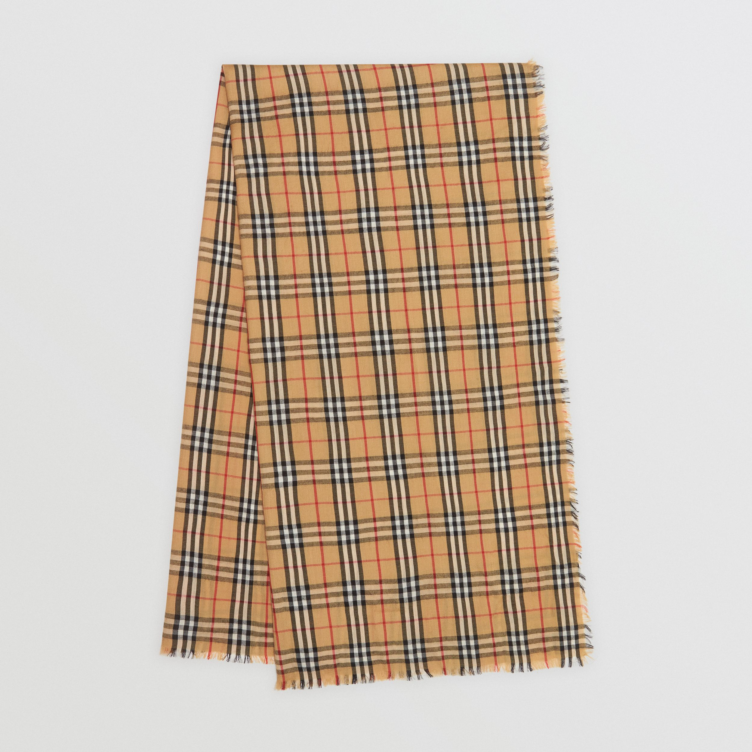 Vintage Check Lightweight Cashmere Scarf in Antique Yellow | Burberry - 1