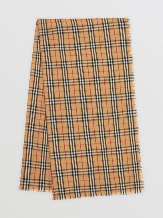 Vintage 格紋輕盈喀什米爾圍巾 (古典黃)