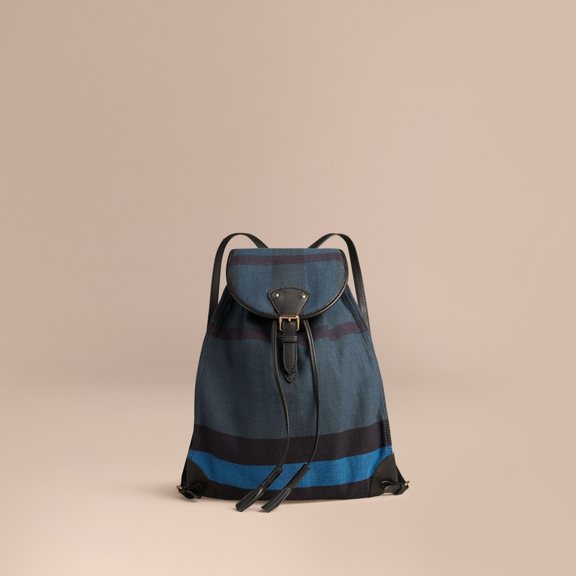 Ultramarine blue Overdyed Canvas Check Backpack Ultramarine Blue - gallery image 1