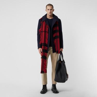 Burberry - Écharpe en laine à motif check et à franges - 4