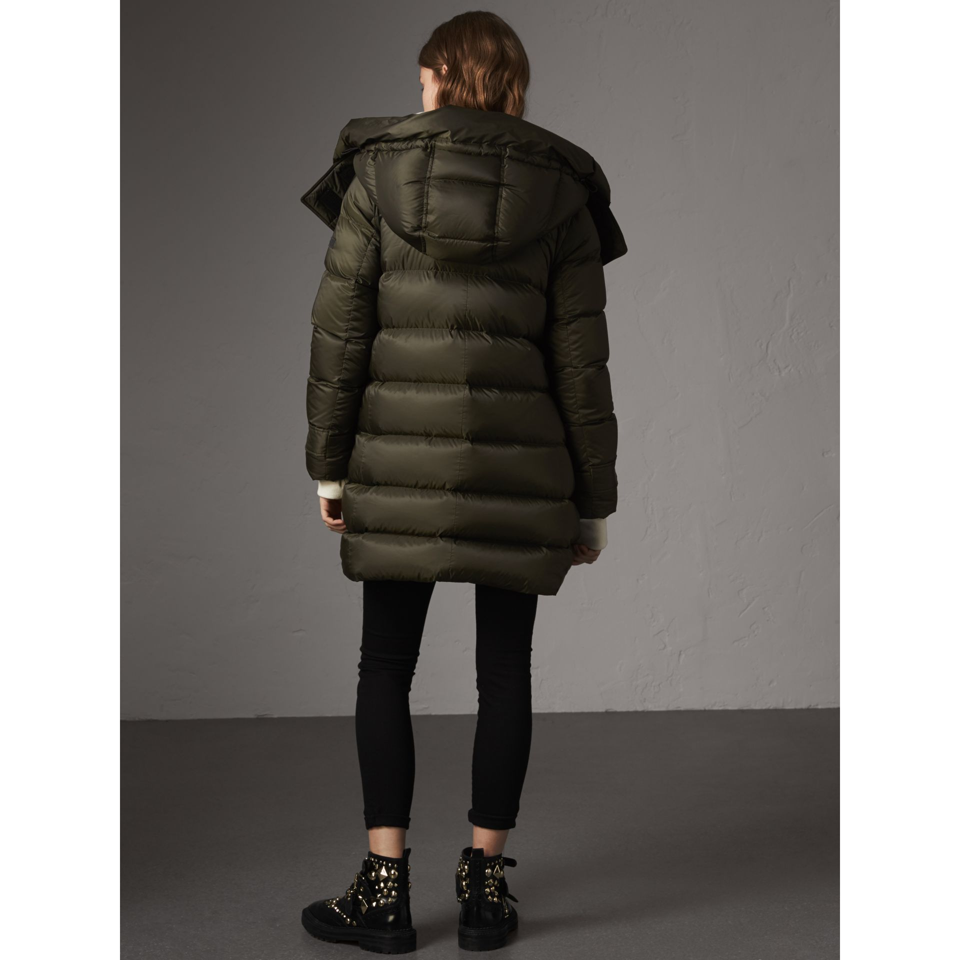 Detachable Hooded Down-filled Puffer Coat in Olive - Women | Burberry - gallery image 3