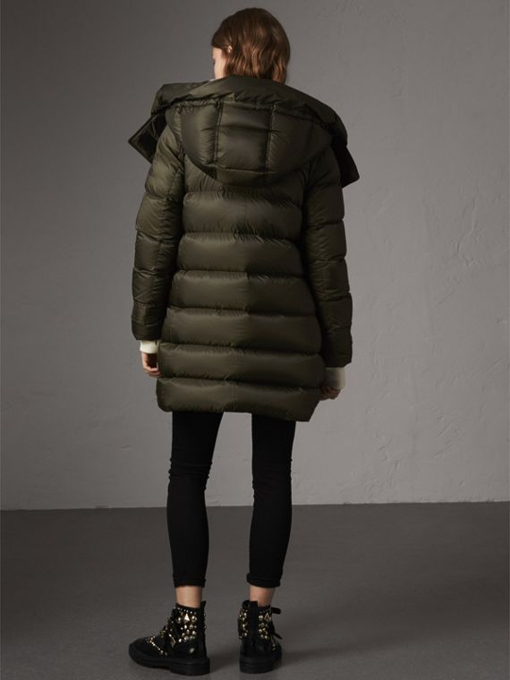 Detachable Hooded Down-filled Puffer Coat in Olive - Women | Burberry United States - cell image 2