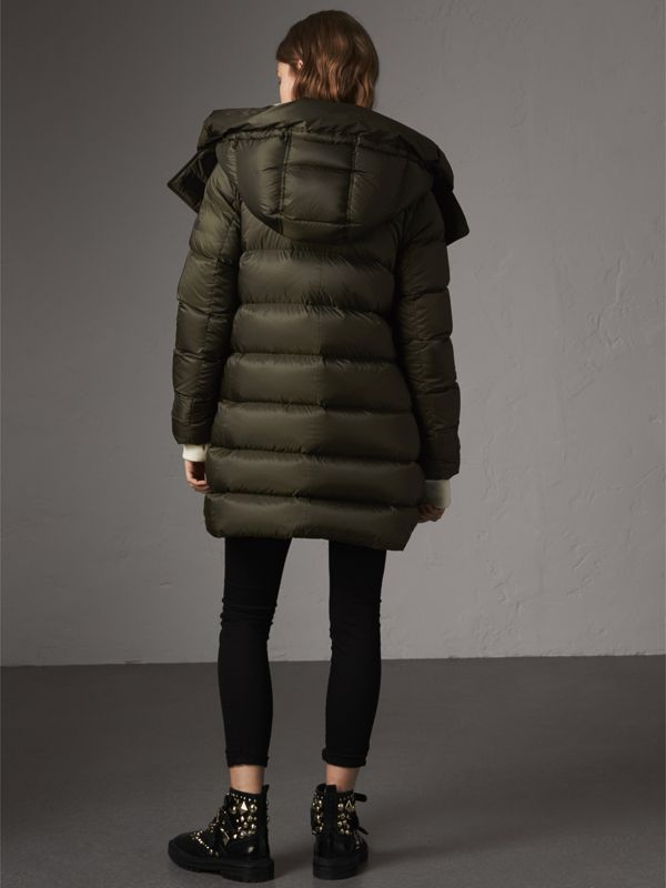 Detachable Hooded Down-filled Puffer Coat in Olive - Women | Burberry - cell image 2