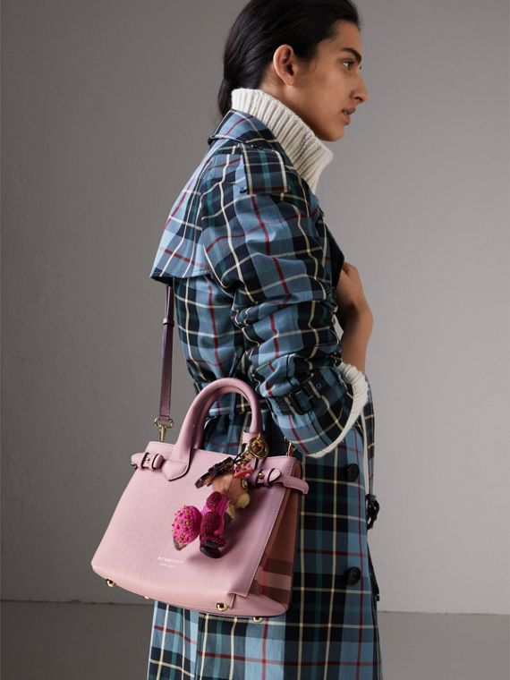 The Small Banner in Leather and House Check in Pale Orchid - Women | Burberry - cell image 3