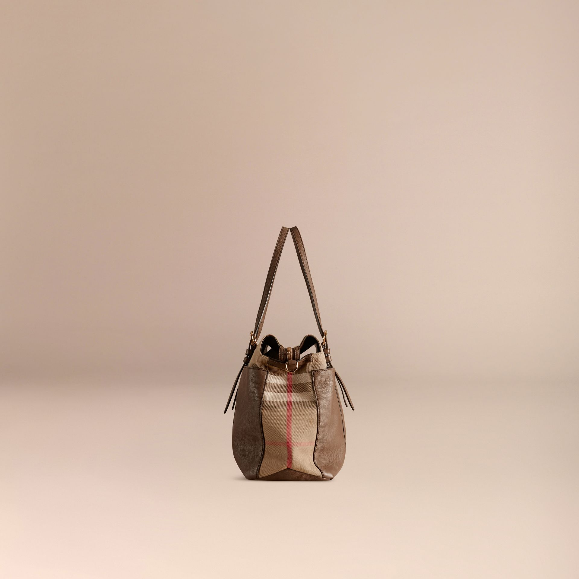 House Check and Leather Baby Changing Bag in Taupe Grey - gallery image 4