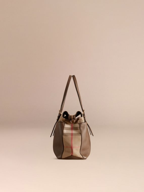 House Check and Leather Baby Changing Bag in Taupe Grey - cell image 3