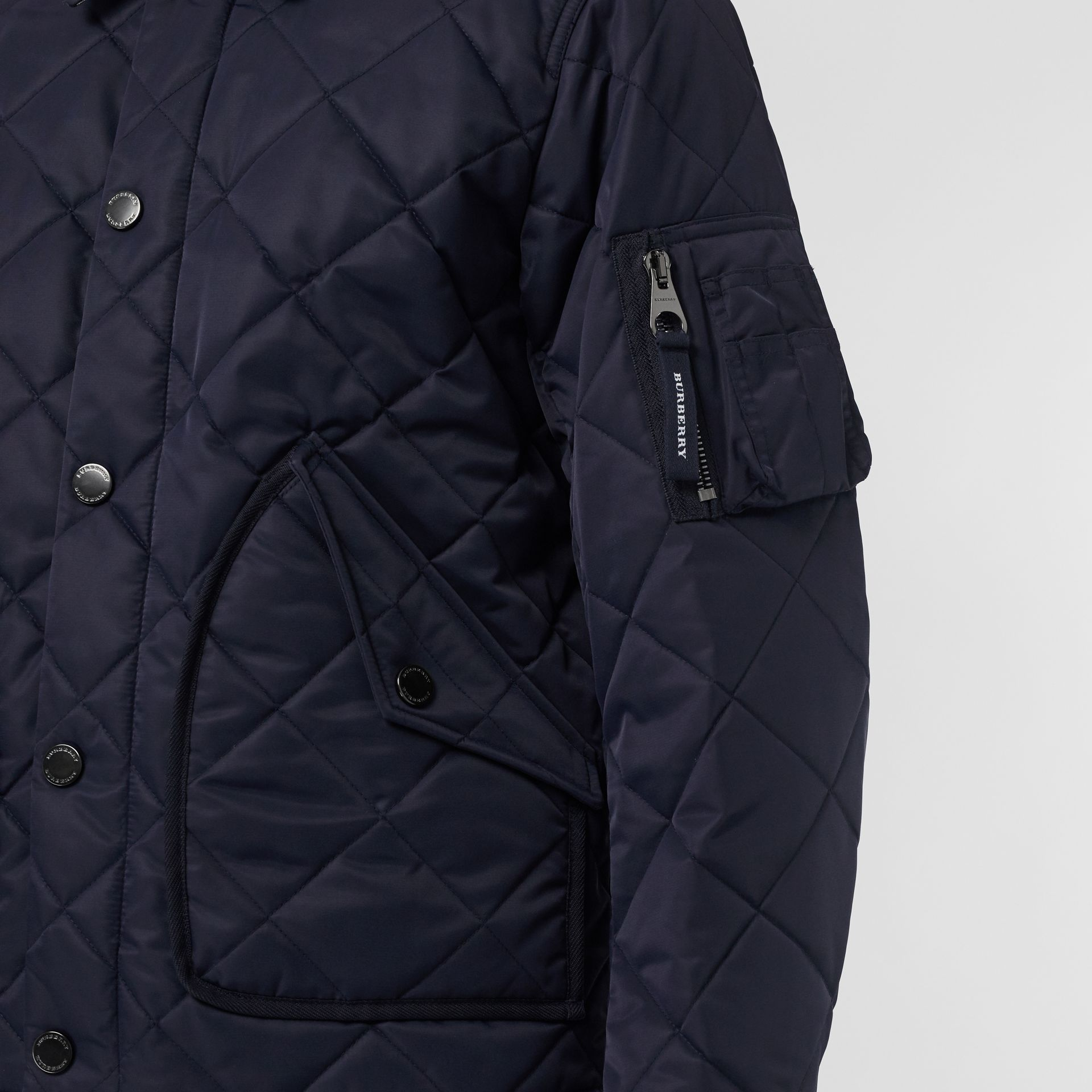 Diamond Quilted Jacket in Navy - Men | Burberry United Kingdom - gallery image 1
