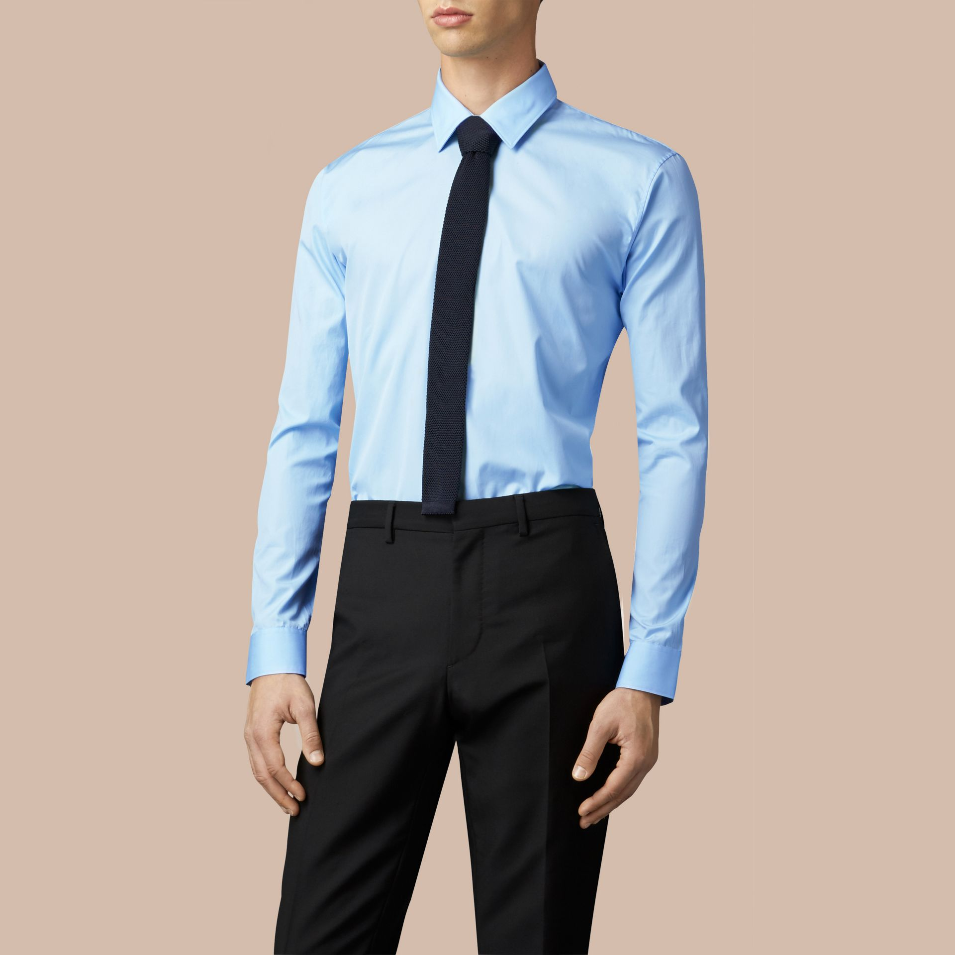 Modern Fit Cotton Poplin Shirt City Blue - gallery image 3