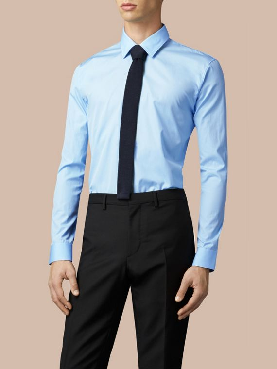City blue Modern Fit Cotton Poplin Shirt City Blue - cell image 2