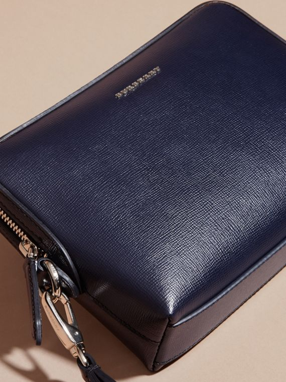 London Leather Pouch in Dark Navy - Men | Burberry Australia - cell image 2