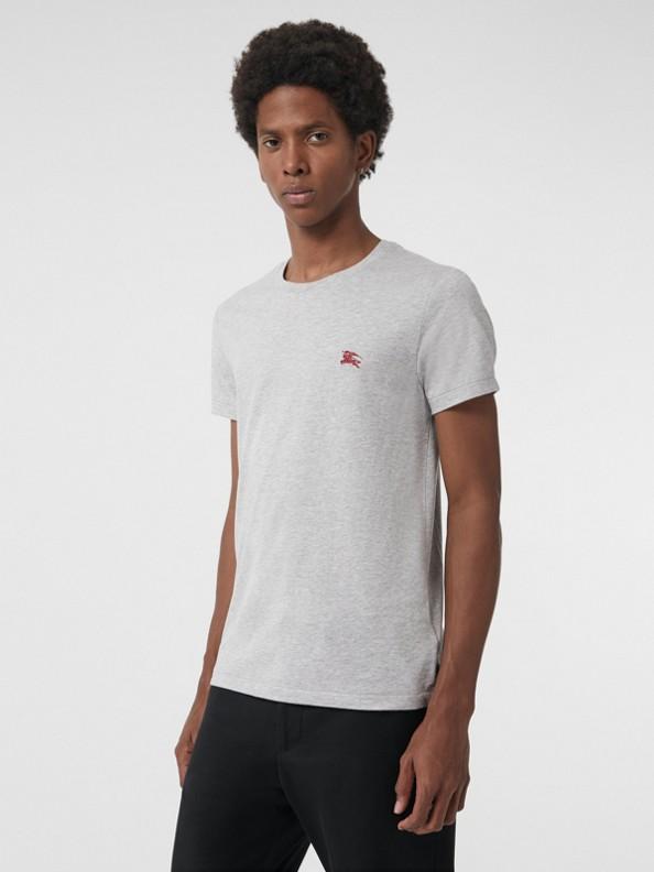 T-shirt in jersey di cotone (Grigio Pallido Mélange)