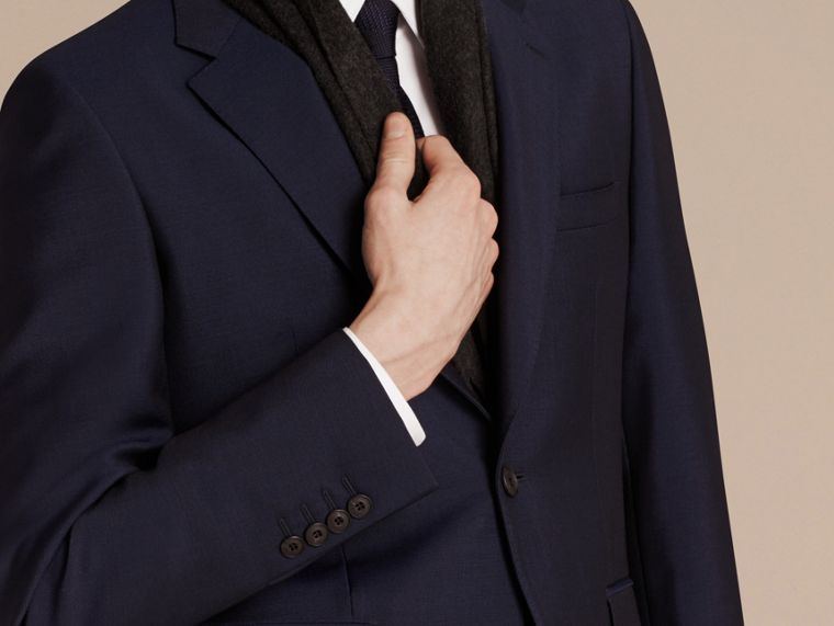 Modern Fit Wool Mohair Part-canvas Suit Royal Navy - cell image 1