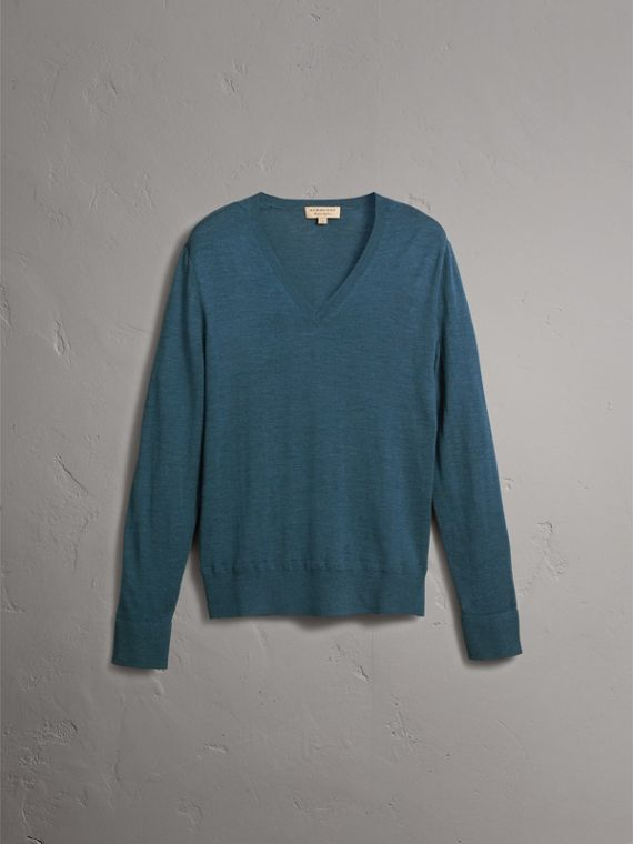 Merino Wool V-neck Sweater in Steel Blue - Men | Burberry Singapore - cell image 3