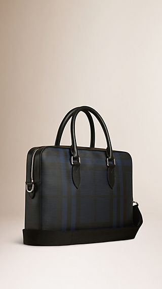 Medium Leather Trim London Check Briefcase