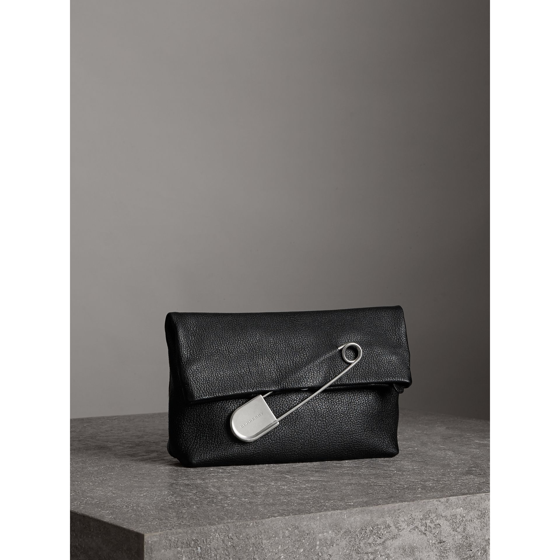 The Medium Pin Clutch in Leather in Black - Women | Burberry - gallery image 6