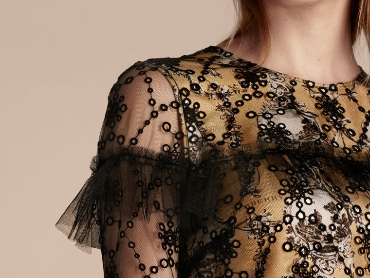 Black Embroidered Tulle Dress with Printed Silk Lining - cell image 4