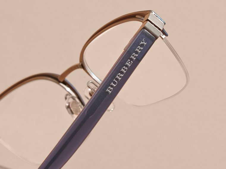 Navy scuro Montatura da vista rettangolare semi-rimless Navy Scuro - cell image 1