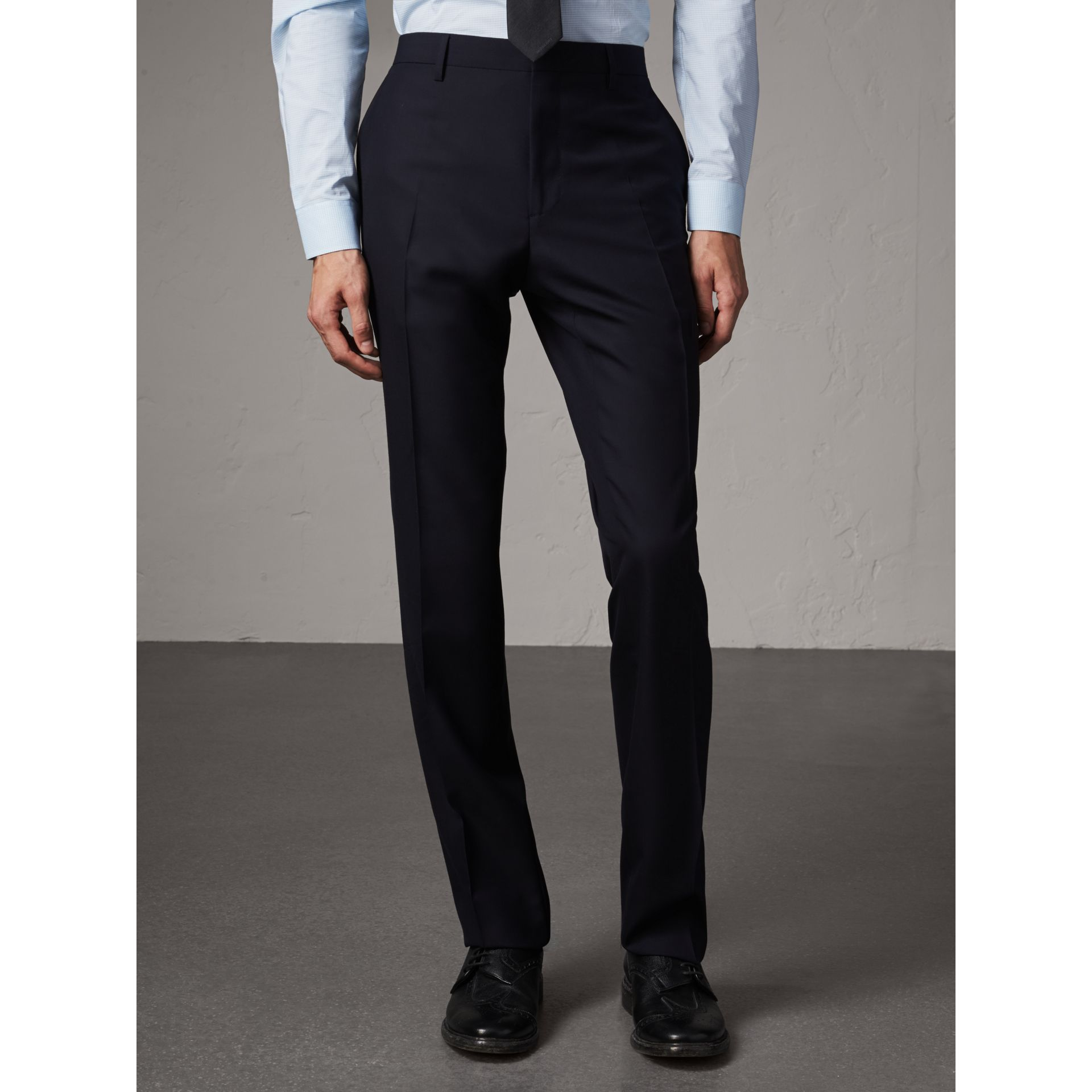 Modern Fit Wool Trousers in Navy - Men | Burberry - gallery image 4