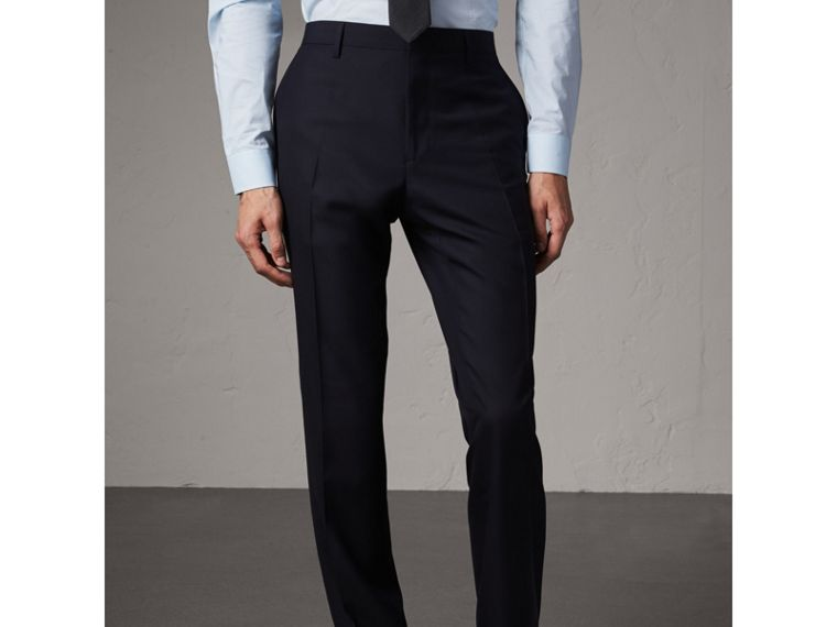 Modern Fit Wool Trousers in Navy - Men | Burberry - cell image 4