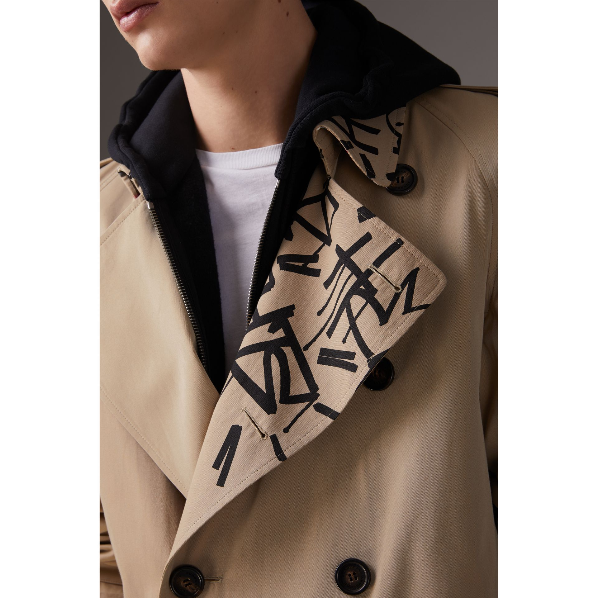 Burberry x Kris Wu Gabardine Trench Coat in Honey - Men | Burberry - gallery image 4