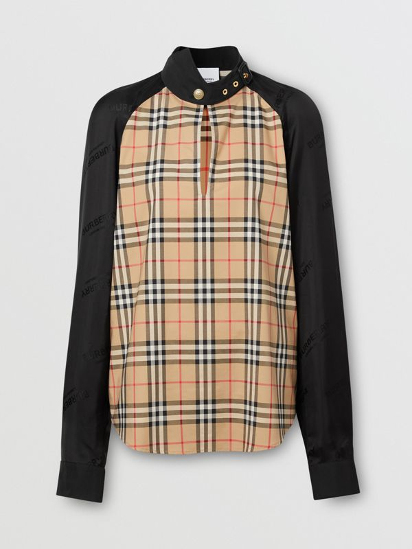 Vintage Check Stretch Cotton and Logo Jacquard Top in Archive Beige - Women | Burberry - cell image 3