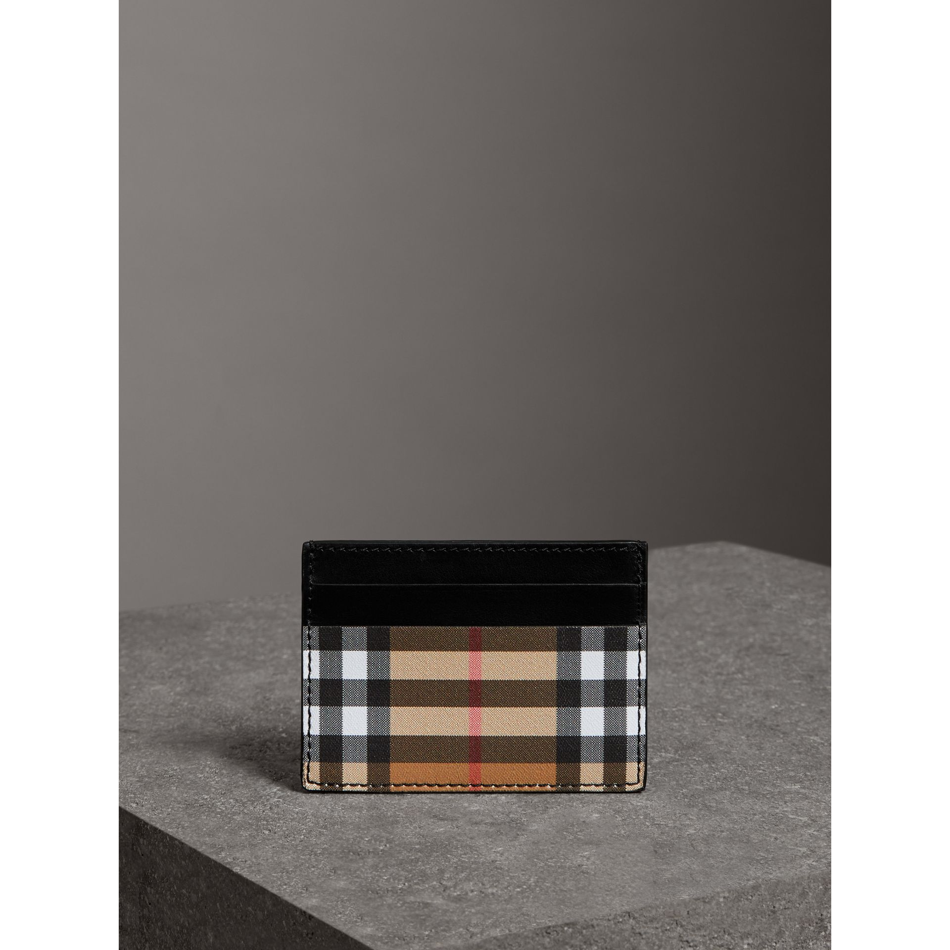 Vintage Check and Leather Card Case in Black | Burberry United States - gallery image 3